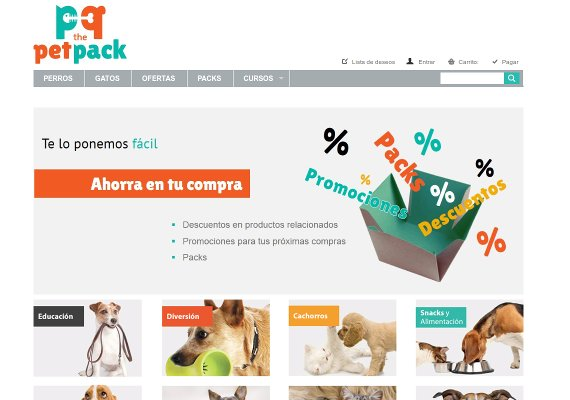 Para The Pet Pack, implementada con el CMS Prestashop